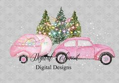 A pink Shabby Christmas, a little fun with all pink Retro Car and Camper. Hand painted in watercolors with soft pinks and greens. Even a pink Christmas tree for fun. All the pieces are ready to use or re-size either larger or small depending on your design. The car and camper is about