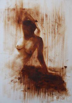 Brown Nude Painting Print Naked Woman Print Bedroom Art by Pysar, $89.00