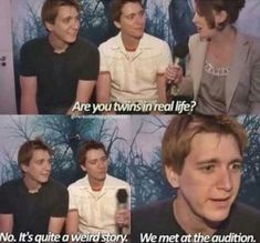 Harry Potter meme about the actors who played the Weasley twins not being related in real life