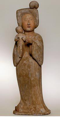 Fat lady tenant un enfant   provenant de l'ancienne chine Dynastie Tang 618-907 APJC