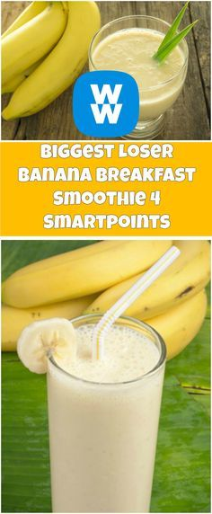 Biggest Loser Banana Breakfast Smoothie 4 Smartpoints click now for more. Weight Watchers Smoothies, Weight Watchers Smart Points, Weight Watchers Breakfast, Weight Watchers Meals, Banana Breakfast, Breakfast Smoothies, Healthy Smoothies, Smoothie Recipes, Healthy Snacks