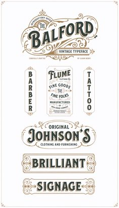 A new vintage font family and ornament called Balford. inspired from vintage labelsand packages. this collection of styles with shadow of typeface dan vintage scrolls panels and ornament possible to combination and option to create label designs headl Vintage Fonts, Vintage Logo Design, Vintage Typography, Typography Letters, Vintage Labels, Typography Logo, Graphic Design Typography, Font Logo, Japanese Typography