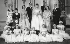 6 May 1960: The wedding group pose in the Throne Room of Buckingham Palace after the marriage between Princess Margaret and the photographer Antony Armstrong-Jones (later Earl of Snowdon)  Picture: Sipa Press / Rex Features
