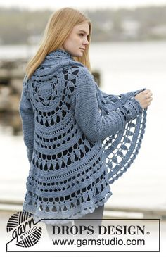 "Crochet DROPS jacket worked in a circle with lace pattern in ""Merino Extra Fine"". Size: S - XXXL."