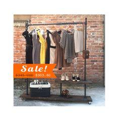 SALE - Garment Rack, Clothing Rack, Clothes Rack, Pipe Furniture  - T Rack Half Shelf