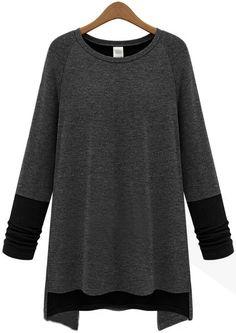 Camiseta suelta combinada negro manga larga-gris EUR€18.73