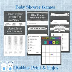 Chalkboard Baby Shower Games Package Seven Printable games by 2RabbitsPrintEnjoy These games will be perfect for a rustic baby shower! #chalkboardbabyshowergames #rusticbabyshowergames #babyshowergameskit
