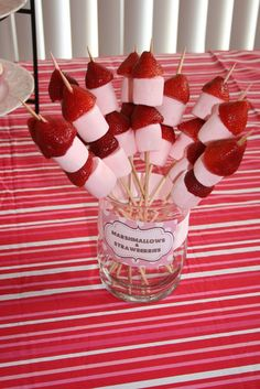 marshmellows and strawberries
