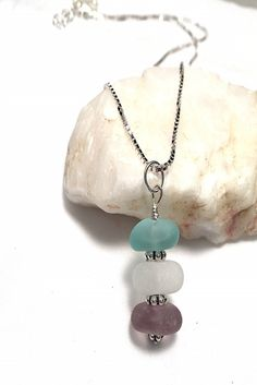 I love the color combination in this sea glass stacker:)
