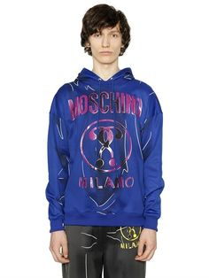 MOSCHINO Hooded Shadow Cotton Blend Sweatshirt, Blue. #moschino #cloth #sweatshirts