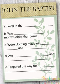 Primary 7 Lesson 3: John the Baptist Prepared the Way for Jesus Christ - Rachael's BookNook John the Baptist question and answer