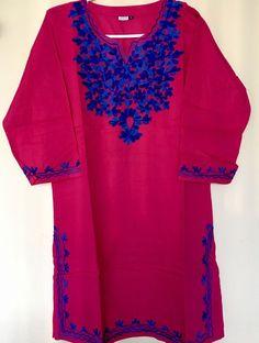 13e34fbc5ff15 Women 100 Cotton Kurti Kurta Tunic Dress Top Hand Embroidered Pink Size  Large