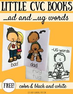 These free little CVC books are an easy way to practice _ad and _ug word families! #CVC #CVCwords #wordfamilies