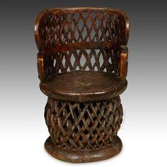 VINTAGE WOOD CHAIR THRONE BAMILEKE FON SPIDER CAMEROON W. AFRICA 20TH C