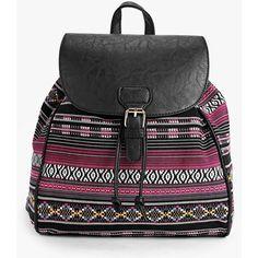 Boohoo Jasmine Tribal Pattern Rucksack (€26) ❤ liked on Polyvore featuring bags, backpacks, backpack, multi, crossbody bag, tribal pattern backpack, party bags, crossbody backpack and backpack bags