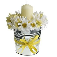 Daisy centerpiece with sunflowers &  candle, dark green or sunflower or checked ribbon