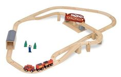 Melissa & Dougwooden train track set features 47 pieces of wonderful and amazing train pieces and accessories with a swivel bridge. It has a simple default train track layout but you can simply change it to meet your standards.