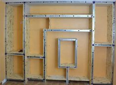 photo-manufacture Source by ottowax Drywall, Angled Bedroom, Osb Wood, Wood Tv Unit, Living Room Wall Designs, Building Shelves, Ikea Furniture Hacks, Tv Unit Design, Bookcase Storage