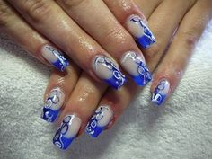 great blue nail decoration