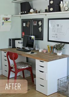 Ideas about home office organization: Ikea Office Makeover - Love the desks fashioned out of drawer units and countertop! via the Lovely Cupboard Home Office Space, Home Office Design, Office Decor, Desk Office, Office Ideas, Office Spaces, Office Designs, Workspace Desk, Basement Office