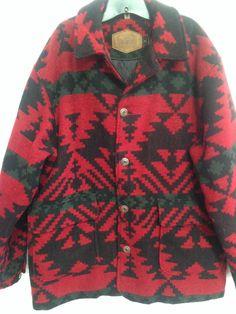 Vtg Woolrich Men Large Wool Coat Indian Blanket Southwest Aztec Red Green Heavy #Woolrich #BasicCoat