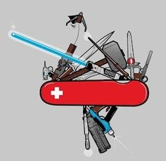 Funny pictures about The ultimate Swiss Army Knife. Oh, and cool pics about The ultimate Swiss Army Knife. Also, The ultimate Swiss Army Knife photos. Obi Wan Lightsaber, Starwars, Science Fiction, Bizarre Photos, Funny Photos, Star Wars Light Saber, Geek Out, Swiss Army Knife, Sci Fi