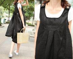 Black Linen Sundress with pockets / Party Dress- Custom Made. $64.00, via Etsy.
