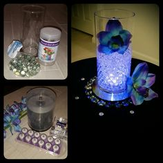Flowers offline $7 (or u can get different ones at dollar store for $1) - Led purple waterproof tealight amazon.com $9 set of 24 (2 packs of 12) - Dvds which are places under the vase (8 total one for each person sitting at the table) from walmart $24 pack of 100 -   Acrylic jewels walmart $4.97 pack of 300 - Clear gel beads $1 dollar store -    Clear glass gems $1 dollar store - Vase $1 dollar store - Approx $125 spent to make centerpieces for 24 tables at my wedding.  Also DVDs are used…