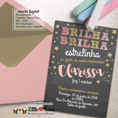 $35.00 Convite Festa Estrelinha Chalkboard para imprimir