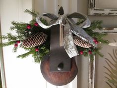 Old barn pulley with Christmas greens and birch bark ribbon Christmas Minis, Merry Little Christmas, Christmas 2017, Outdoor Christmas, Christmas Wreaths, Christmas Crafts, Christmas Decorations, Christmas Stuff, Christmas Ideas