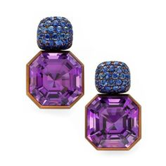 GLAM BARBIE                       GLAM BARBIE    A Pair of Amethyst and Sapphire Earrings by Hemmerle