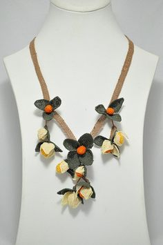 OYA Silk Needle Lace Necklace Hand made Turkish lace by OYASHOP