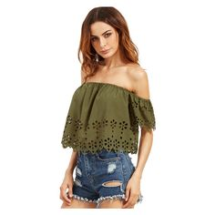 Army Green Off The Shoulder Hollow Crop Blouse ($8.99) ❤ liked on Polyvore featuring tops, blouses, olive green top, cut-out crop tops, olive green crop top, off shoulder crop top and olive green blouse