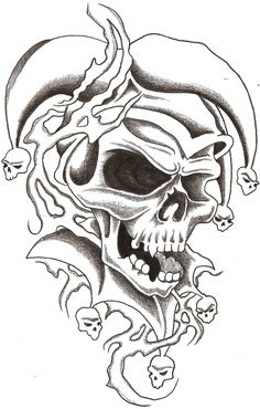 drawings of skulls   Skull Jester 1 by TheLob