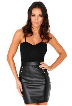 Missguided - Dannell Spiked Leather Bustier Mini Dress