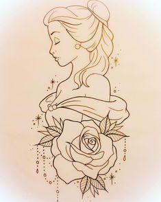 drawing drawing disney Tattoo Disney Pixar Belle 25 T Disney Pixar, Disney Art, Disney Ideas, Disney Tattoos Ideas, Disney Belle, Tattoo Ideas, Films Disney, Disney Inspired Tattoos, Disney Stuff