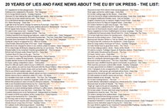 See 20 years of FAKE NEWS about EU by UK press. Vote for your 'favourite' here: | Pride's Purge