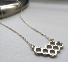 Honeycomb Necklace Silver Honeycomb Necklace by Instyleglamour