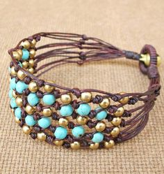 Items similar to Beaded Turquoise Net Knot Bracelet with Brass Bead on Etsy Jewelry Crafts, Jewelry Art, Beaded Jewelry, Handmade Jewelry, Fashion Jewelry, Beaded Bracelets, Unique Jewelry, Jewelry Patterns, Bracelet Patterns