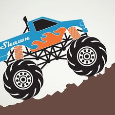 Monster Truck Wall Decal Personalized Name Kids Room Decor Removable Vinyl Sticker Truck Theme Boy Transportation Art Monster Truck Wall Decal: Custom Personalized Kids Name via Etsy Monster Truck Bedroom, Monster Truck Birthday, Monster Trucks, Monster Jam, Truck Room, Car Room, Truck Paint, Truck Decals, Kids Wall Decals