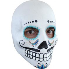 Fancy Dress Halloween Painted Catrin Deluxe Day of Dead Latex Head Skull Mask Day Of Dead, Day Of The Dead Mask, Day Of The Dead Skull, Latex, Moustaches, Scary Costumes, Halloween Costumes, Skeleton Costumes, Costumes