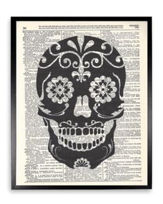 Buy Sugar Skull Upcycled Dictionary Art Print Repurposed Book Print Recycled Antique Dictionary Page - Buy 2 Get 1 FREE on Shoply.