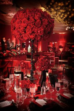 We switched it up from the white and black ceremony to a sexy deep red burgundy and black reception. Each table featured towering black candelabras that were filled with red roses and dangling black crystals. Tall Wedding Centerpieces, Elegant Centerpieces, Centerpiece Decorations, Reception Decorations, Purple Table, Wedding Themes, Wedding Ideas, Romantic Weddings, Simple Weddings
