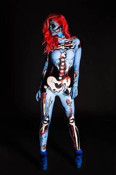 Blue Pop Art Costume is part of Body painting Halloween - Skeleton Halloween Costume, Sexy Halloween Costumes, Adult Costumes, Cosplay Costumes, Halloween Zombie, Halloween 2018, Cosplay Ideas, Halloween Foods, Artistic Make Up