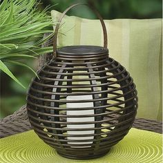"""So cute, solar LED """"candle"""" with the Rattan basket look. My deck patio is going to be like a Paradise Vacation! Outdoor Hanging Lanterns, Large Lanterns, Solar Lanterns, Lanterns Decor, Candle Lanterns, Solar Lights, Outdoor Lighting, Amber Led Lights, Swag Light"""