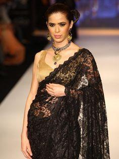 Black lace saree worn during the 2012 Indian Jewellery Fashion Week.