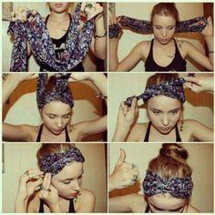 Como usar tu pañuelo como un cintillo