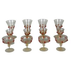 Antique Venetian Stemware   From a unique collection of antique and modern tableware at https://www.1stdibs.com/furniture/dining-entertaining/tableware/