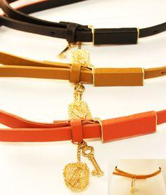 Women's Skinny Belt with Gold Charm Skinny Belt, Bangles, Bracelets, Gold Fashion, Cartier Love Bracelet, Charmed, Leather, Accessories, Jewelry
