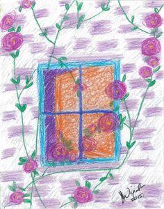 abstract-art-print-purple-roses-window